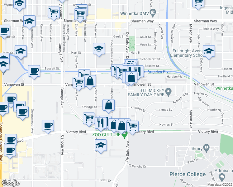 map of restaurants, bars, coffee shops, grocery stores, and more near 6722 Independence Ave in Los Angeles