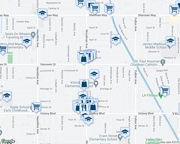 map of restaurants, bars, coffee shops, grocery stores, and more near 6712 Woodman Avenue in Los Angeles