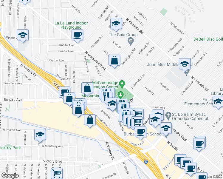 map of restaurants, bars, coffee shops, grocery stores, and more near 239 Amherst Dr in Burbank