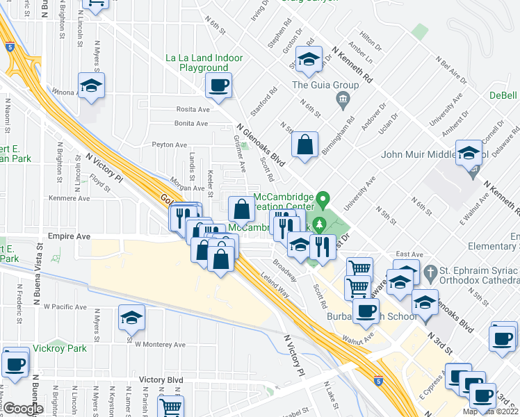 map of restaurants, bars, coffee shops, grocery stores, and more near 1620 N San Fernando Blvd in Burbank