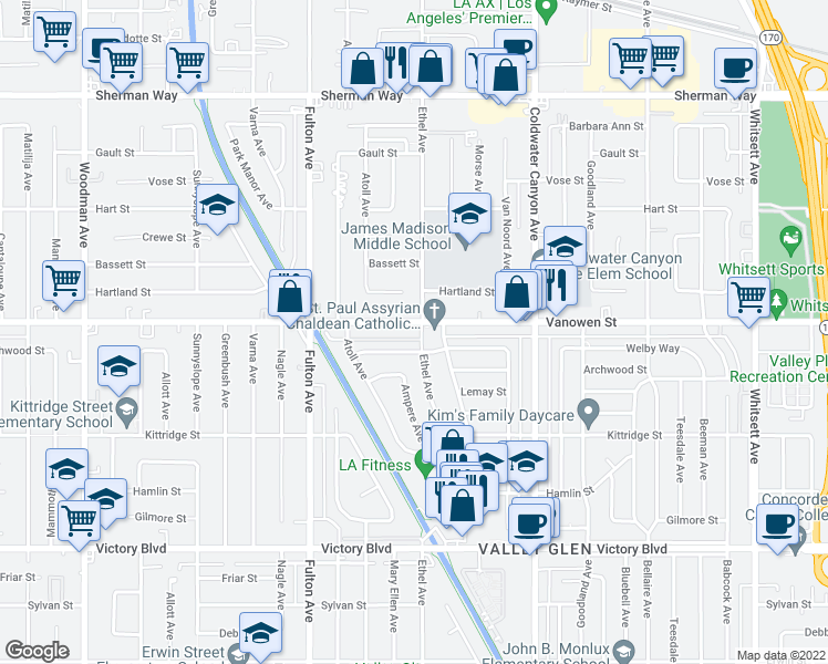 map of restaurants, bars, coffee shops, grocery stores, and more near 13123-13125 Vanowen Street in Los Angeles
