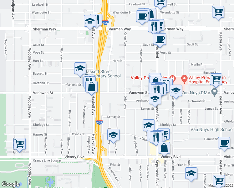 map of restaurants, bars, coffee shops, grocery stores, and more near 15540 Vanowen Street in Los Angeles