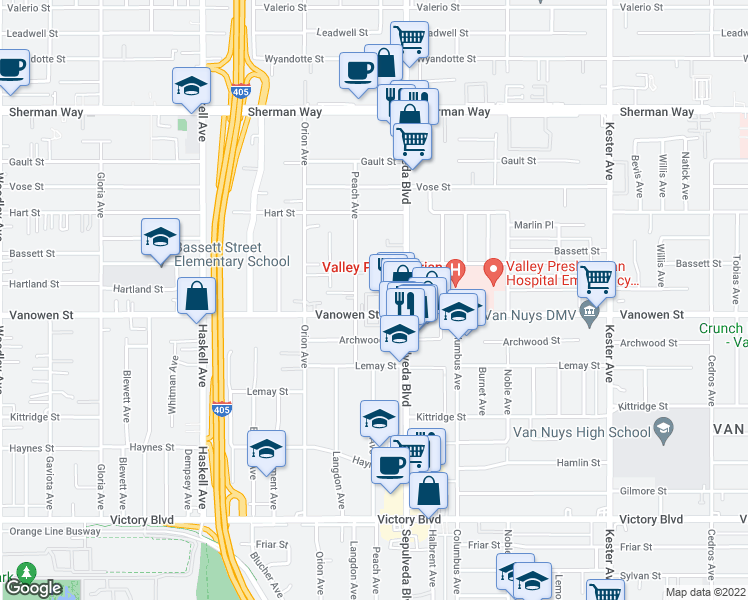 map of restaurants, bars, coffee shops, grocery stores, and more near 15317 Vanowen St in Los Angeles