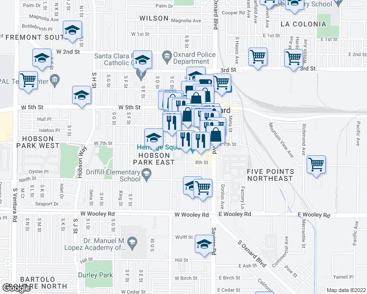 map of restaurants, bars, coffee shops, grocery stores, and more near 640 S B St in Oxnard