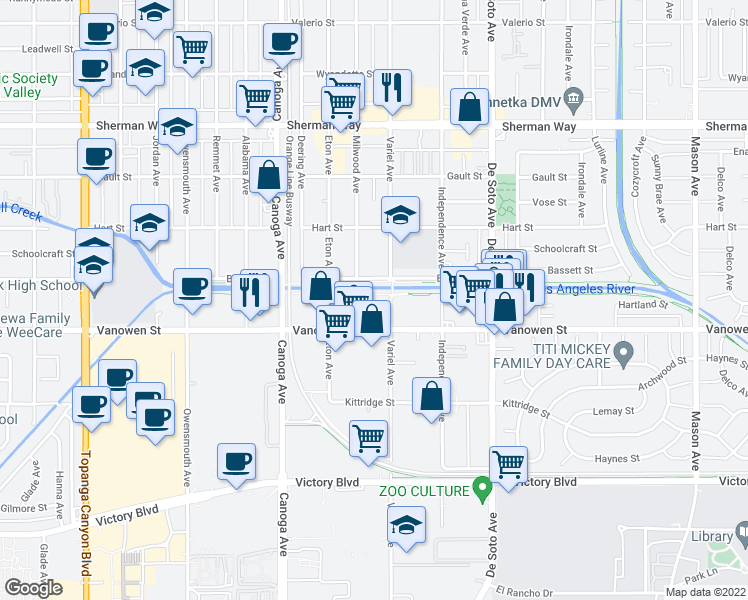 map of restaurants, bars, coffee shops, grocery stores, and more near 21100-21198 Bassett St