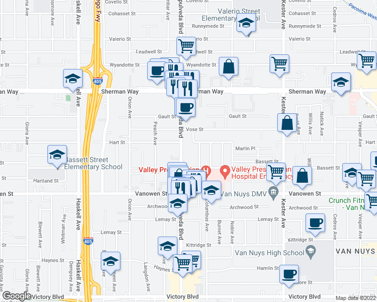map of restaurants, bars, coffee shops, grocery stores, and more near 6940 Sepulveda Boulevard in Los Angeles
