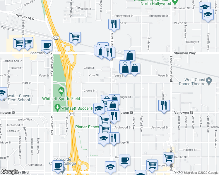 map of restaurants, bars, coffee shops, grocery stores, and more near 6949 Laurel Canyon Boulevard in Los Angeles