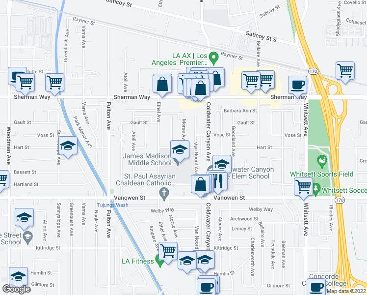 map of restaurants, bars, coffee shops, grocery stores, and more near 13000 Hart St in Los Angeles