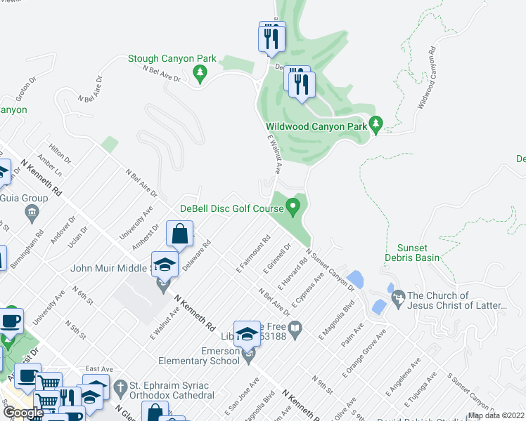 map of restaurants, bars, coffee shops, grocery stores, and more near E Walnut Ave & N Sunset Canyon Dr in Burbank