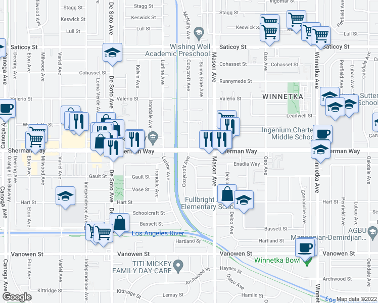map of restaurants, bars, coffee shops, grocery stores, and more near Sherman Way & Cozycroft Ave in Los Angeles