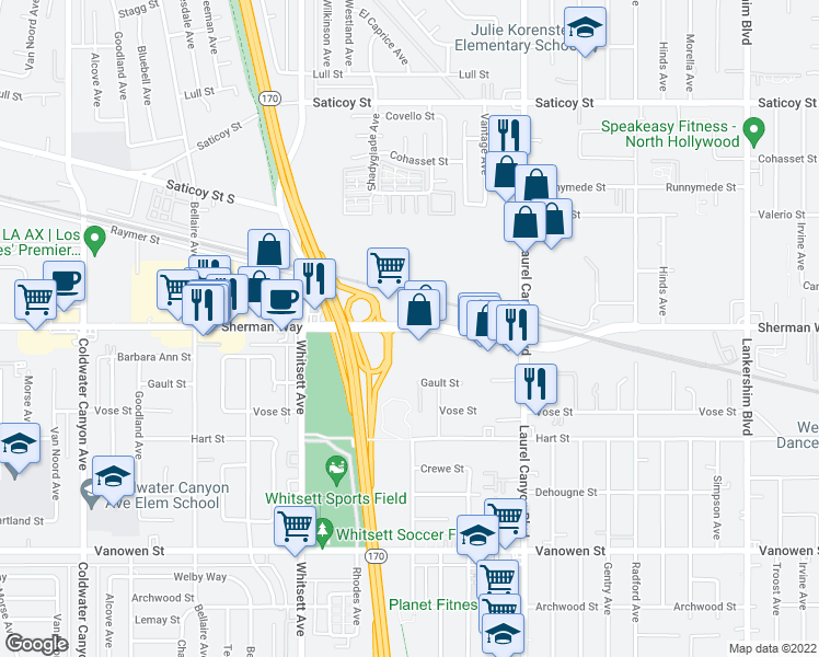 map of restaurants, bars, coffee shops, grocery stores, and more near 12301 Sherman Way in Los Angeles