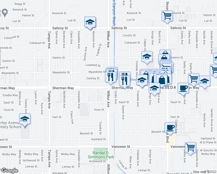 map of restaurants, bars, coffee shops, grocery stores, and more near Sherman Way & Wilbur Avenue in Los Angeles