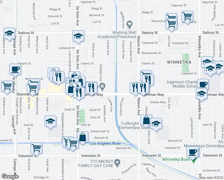 map of restaurants, bars, coffee shops, grocery stores, and more near 7208-7224 Lurline Ave in Los Angeles