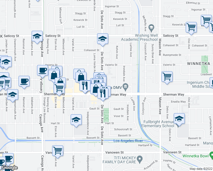 map of restaurants, bars, coffee shops, grocery stores, and more near 7213-7219 De Soto Avenue in Los Angeles