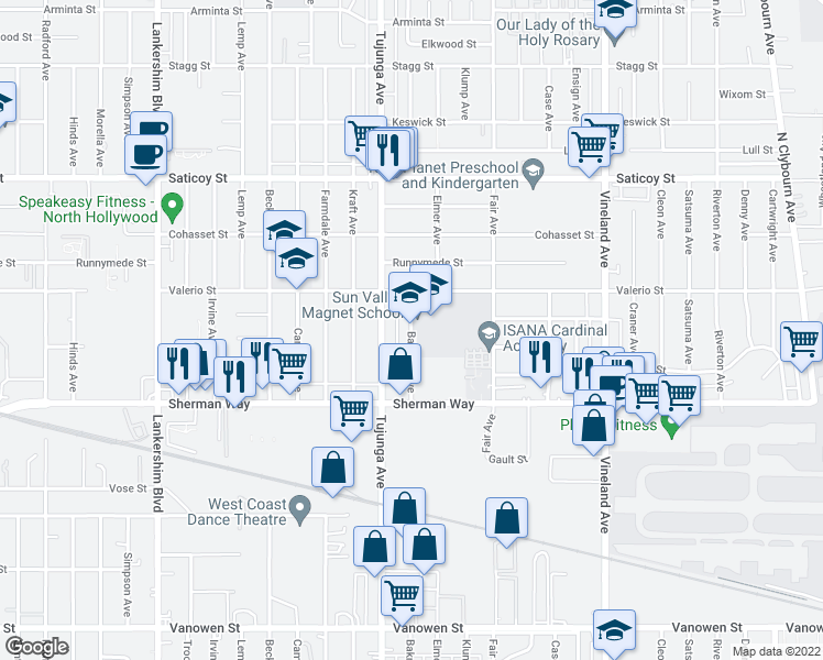 map of restaurants, bars, coffee shops, grocery stores, and more near 11156 Wyandotte St in Los Angeles