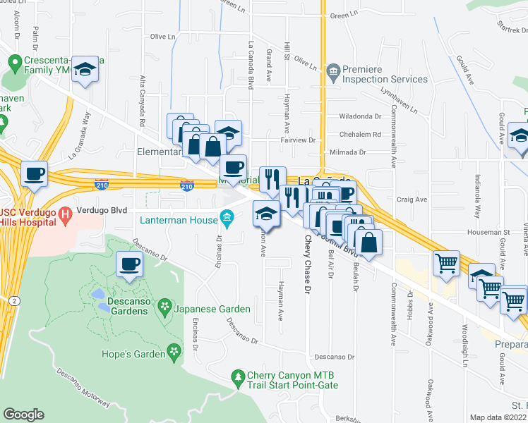 map of restaurants, bars, coffee shops, grocery stores, and more near 1119 Foothill Boulevard in La Cañada Flintridge