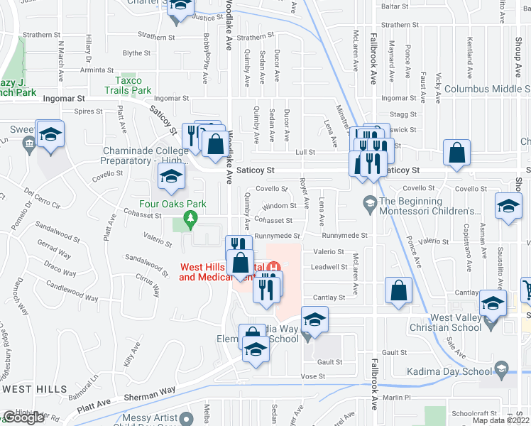 map of restaurants, bars, coffee shops, grocery stores, and more near 23100 Windom Street in West Hills
