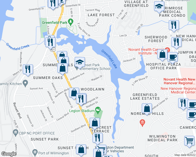 map of restaurants, bars, coffee shops, grocery stores, and more near 2000-2016 Fall Drive in Wilmington