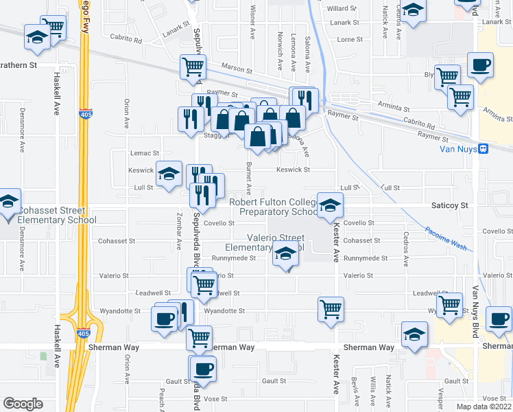 map of restaurants, bars, coffee shops, grocery stores, and more near 15125 Saticoy Street in