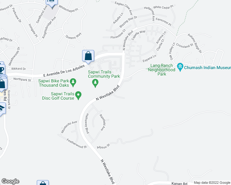 map of restaurants, bars, coffee shops, grocery stores, and more near N Westlake Blvd in Thousand Oaks
