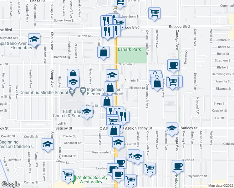 map of restaurants, bars, coffee shops, grocery stores, and more near 7810 Topanga Canyon Boulevard in Los Angeles