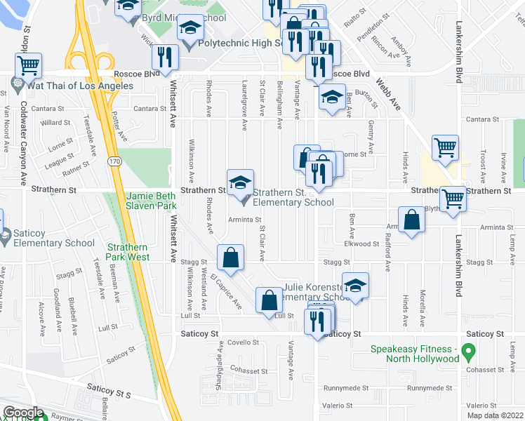 map of restaurants, bars, coffee shops, grocery stores, and more near 7942 St Clair Ave in Los Angeles