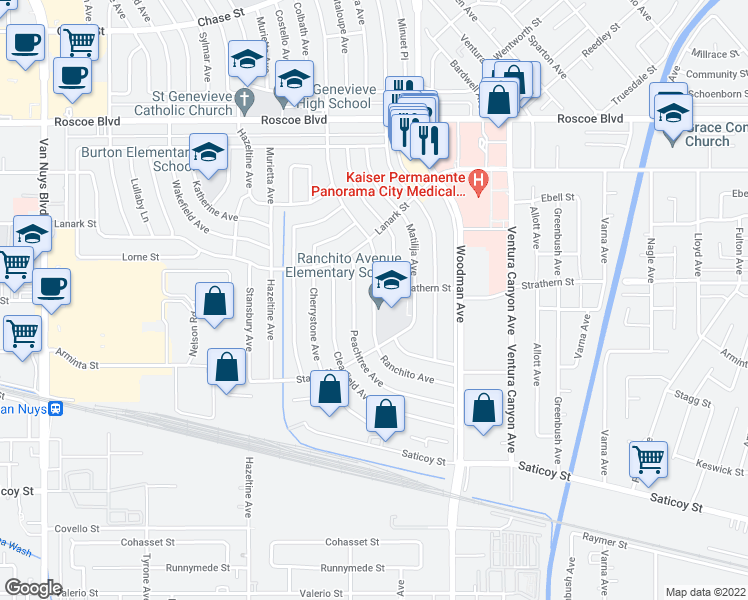 map of restaurants, bars, coffee shops, grocery stores, and more near 7940 Ranchito Avenue in Los Angeles