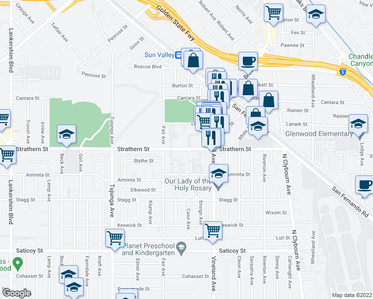 map of restaurants, bars, coffee shops, grocery stores, and more near 11100 Strathern St in Los Angeles