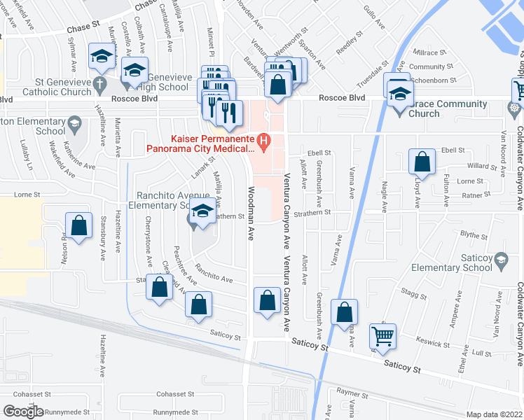 map of restaurants, bars, coffee shops, grocery stores, and more near 7970 Woodman Avenue in Los Angeles