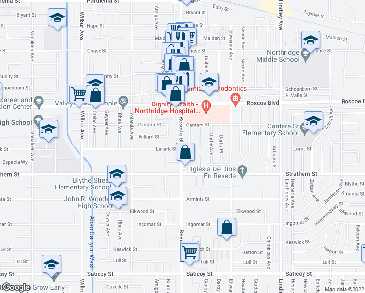 map of restaurants, bars, coffee shops, grocery stores, and more near 8022-8198 Reseda Boulevard in Los Angeles