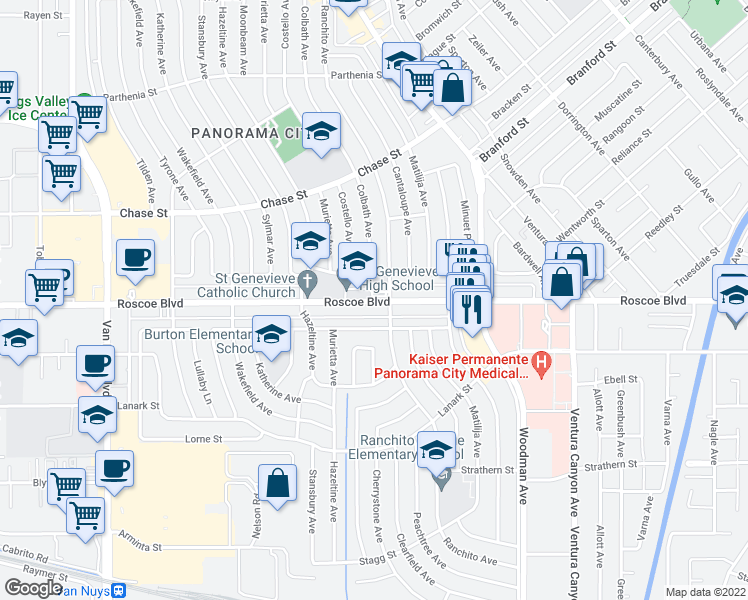 map of restaurants, bars, coffee shops, grocery stores, and more near 13939 Burton St in Los Angeles