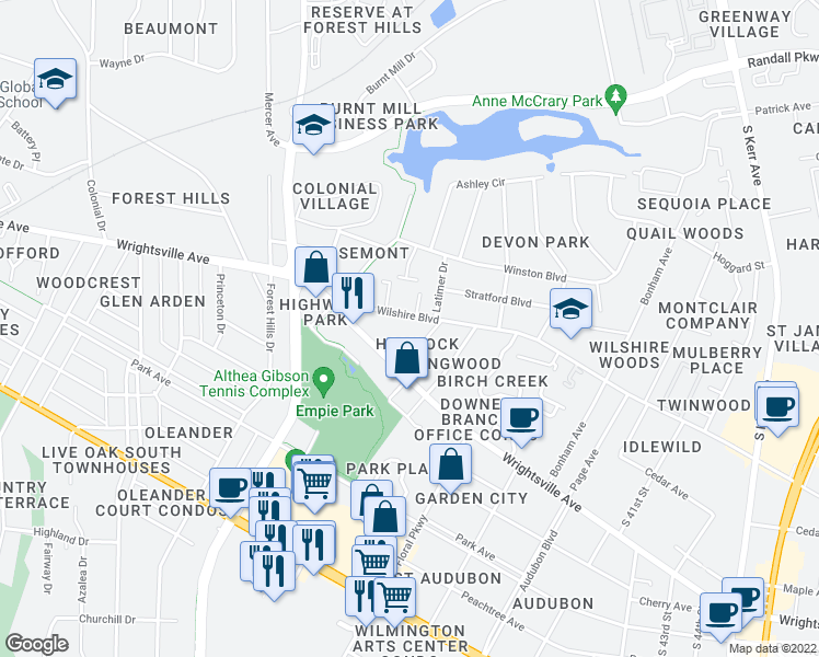 map of restaurants, bars, coffee shops, grocery stores, and more near 3402 Wilshire Blvd in Wilmington