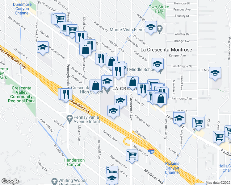 map of restaurants, bars, coffee shops, grocery stores, and more near 4444 Glenwood Ave in La Crescenta-Montrose