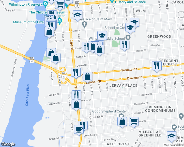 map of restaurants, bars, coffee shops, grocery stores, and more near 510 Wooster St in Wilmington