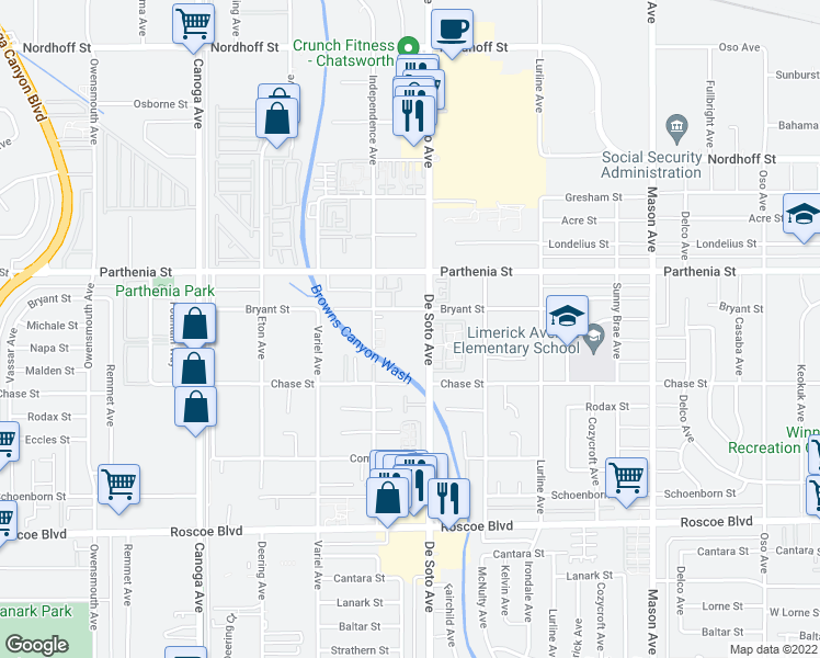 map of restaurants, bars, coffee shops, grocery stores, and more near 20937 Bryant St in Los Angeles