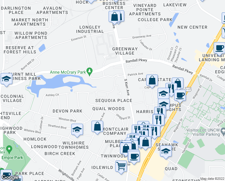 map of restaurants, bars, coffee shops, grocery stores, and more near 423-431 Mill Creek Court in Wilmington