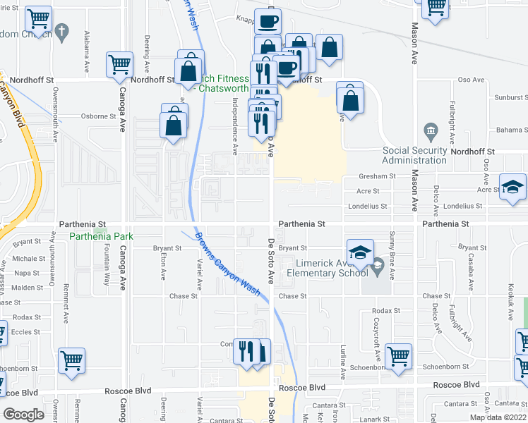 map of restaurants, bars, coffee shops, grocery stores, and more near 8700 De Soto Avenue in Los Angeles