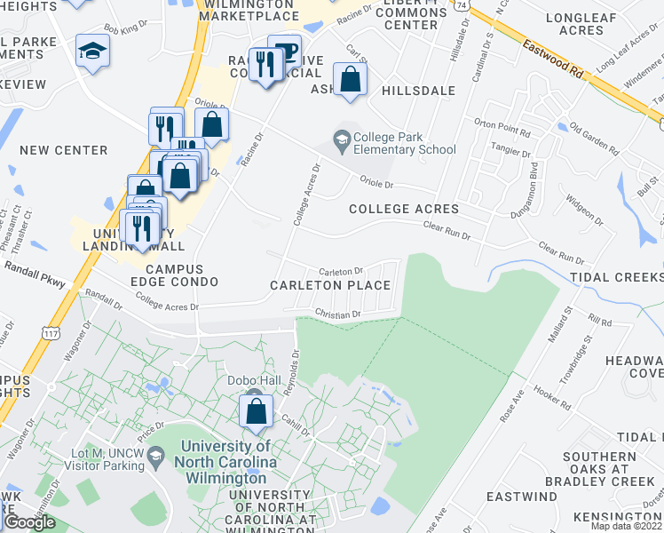 map of restaurants, bars, coffee shops, grocery stores, and more near 5006 Carleton Drive in Wilmington