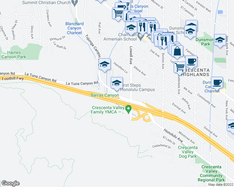 map of restaurants, bars, coffee shops, grocery stores, and more near 6235 Honolulu Ave in La Crescenta-Montrose