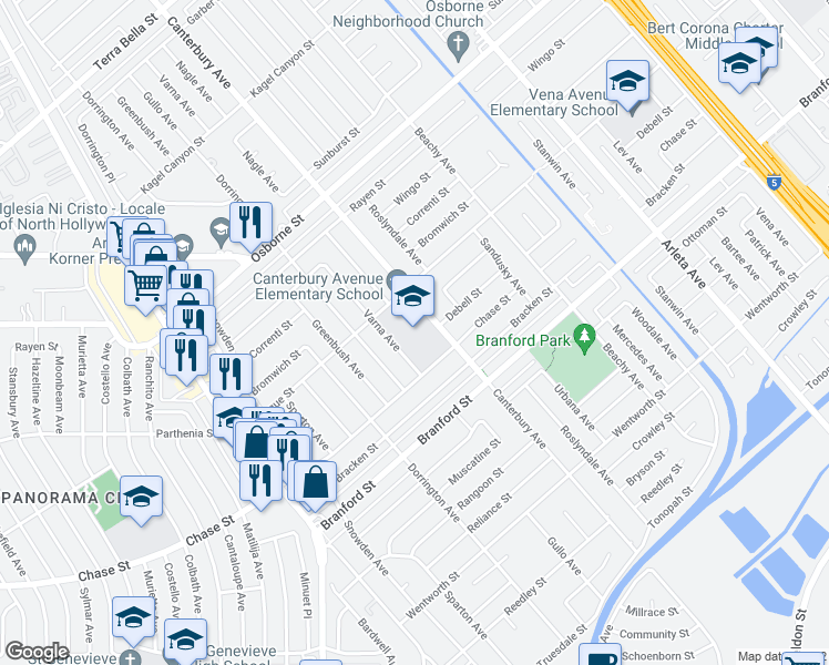 map of restaurants, bars, coffee shops, grocery stores, and more near 13670 Montague St in Los Angeles