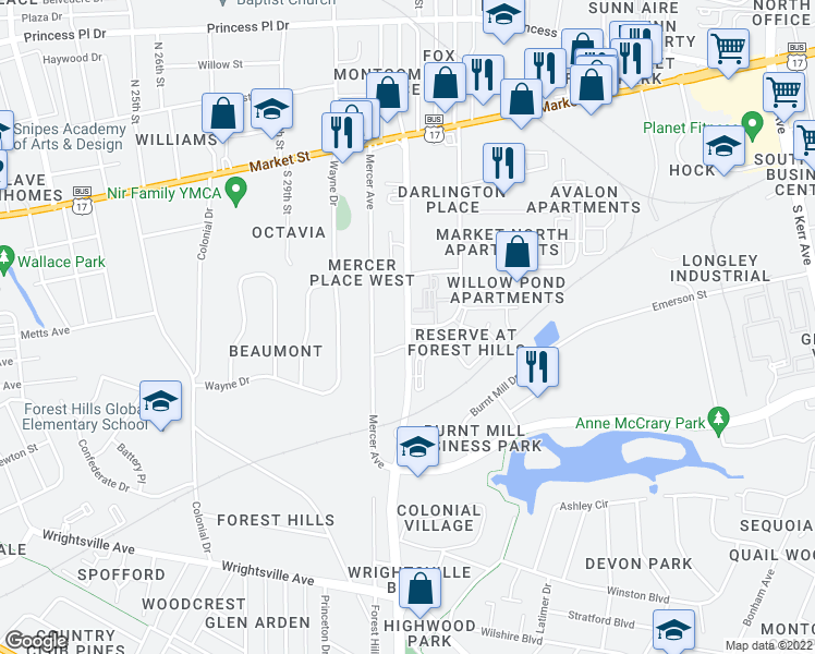 map of restaurants, bars, coffee shops, grocery stores, and more near Covil Ave & Darlington Ave in Wilmington
