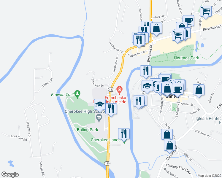 map of restaurants, bars, coffee shops, grocery stores, and more near 687 Marietta Hwy in Canton