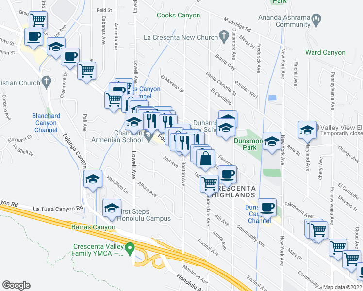 map of restaurants, bars, coffee shops, grocery stores, and more near 3761 Danny Street in Glendale