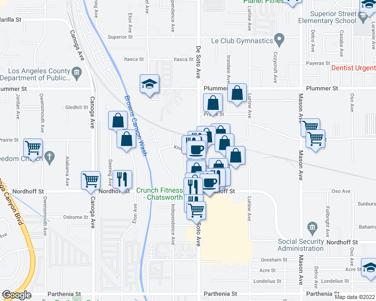 map of restaurants, bars, coffee shops, grocery stores, and more near 20961 Knapp St in Los Angeles