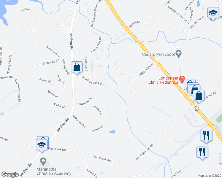 map of restaurants, bars, coffee shops, grocery stores, and more near 4771 Crawford Oaks Dr in Oakwood