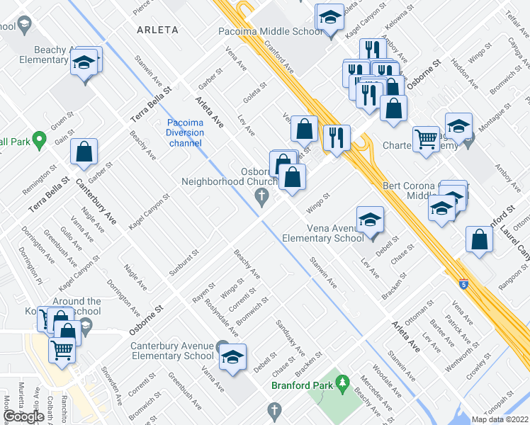 map of restaurants, bars, coffee shops, grocery stores, and more near 9485 Stanwin Ave in Los Angeles