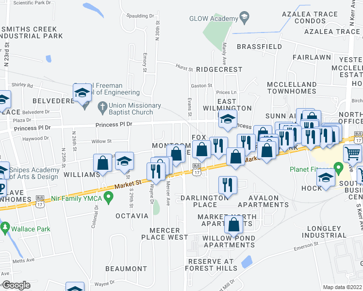 map of restaurants, bars, coffee shops, grocery stores, and more near 106-110 Evans Street in Wilmington