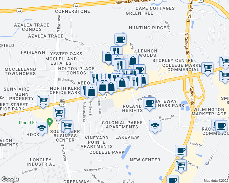 map of restaurants, bars, coffee shops, grocery stores, and more near Market St & Cobblestone Dr in Wilmington