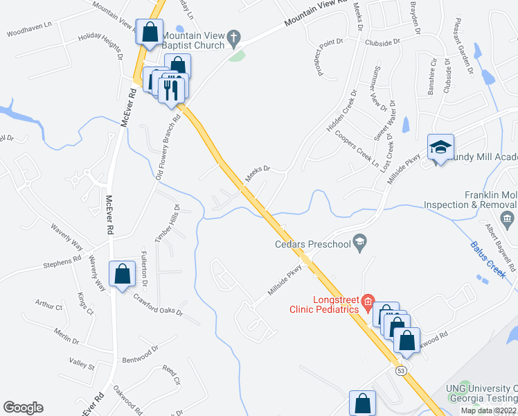 map of restaurants, bars, coffee shops, grocery stores, and more near 4201-4299 Mundy Mill Place in Oakwood