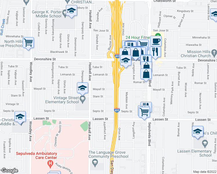 map of restaurants, bars, coffee shops, grocery stores, and more near 15649 Mayall Street in North Hills